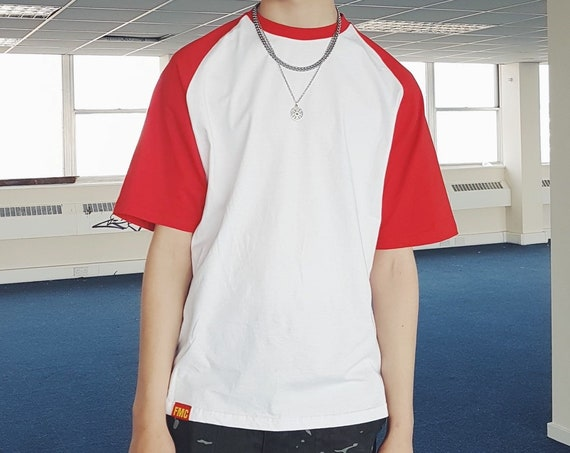 Contrast Baseball T-shirt White & Red