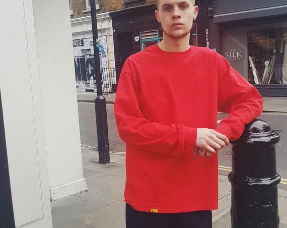Plain Long Sleeve T-shirt Red
