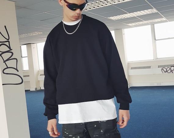 Oversized Cropped Sweatshirt Black