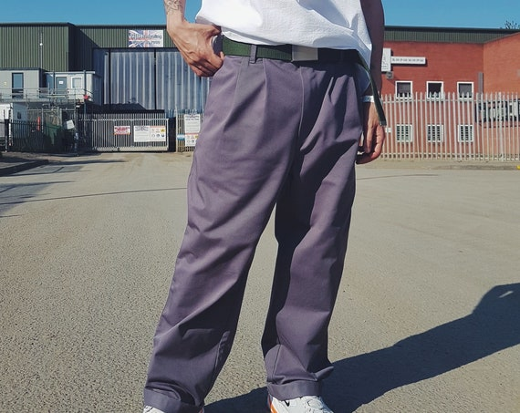 Baggy Pleated Workwear Trousers Graphite
