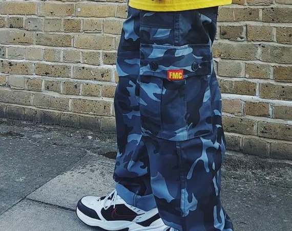 Baggy Cargo Trousers Camo Blue
