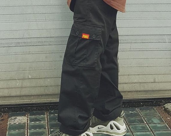 Baggy Cargo Trousers Dark Olive