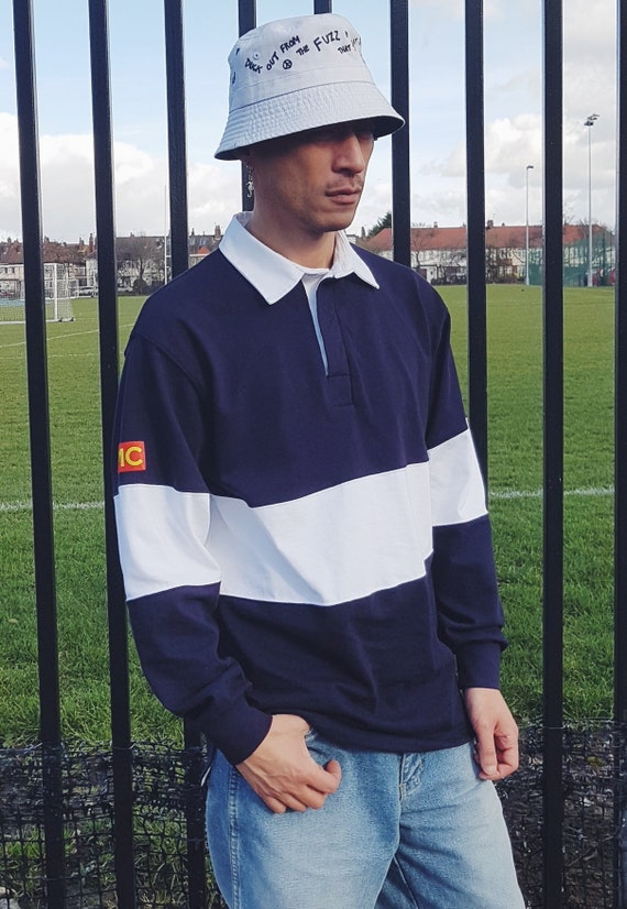 Rugby Shirt Navy & White Colourblock