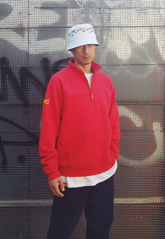 Quarter Zip Sweatshirt Red