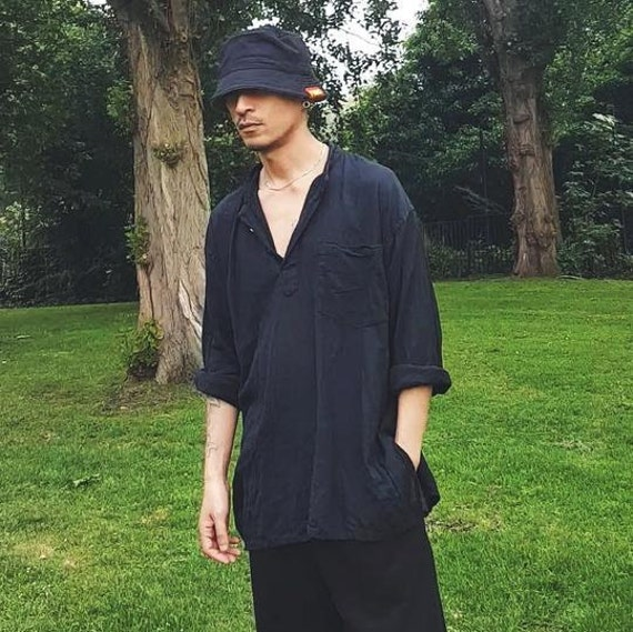 Oversized Crinkly Grandad Shirt Black