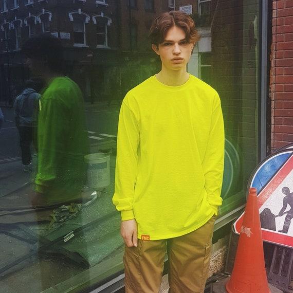 Plain Long Sleeve T-shirt Neon Yellow