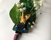 Handmade Lego Thor / Loki / Marvel / Superhero Wedding Buttonhole / Boutonnieres