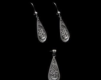 special occasion mom gift artisan made Sterling silver jewelry birthday gift girlfriend gift Handmade Set Eclipse