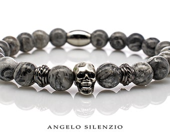 silberfarbener Löwenkopf Armband Bracelet Perlenarmband 8mm Zebra Jaspis