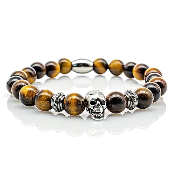 Tiger Eye Bracelet Sterling Silver Skull Bracelet