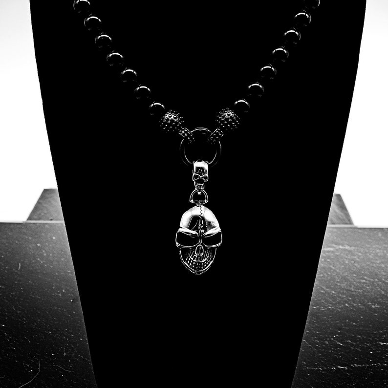 Onyx necklace necklace beaded necklace 10 mm beaded black beaded necklace skull stainless steel