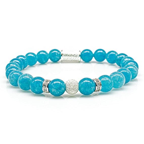 Jade 925 Sterling Silver Bracelet Bracelet Beaded Bracelet Amazonite Beads Ball Black 8mm CZ