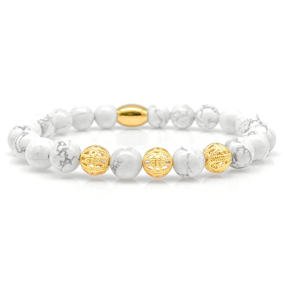 Beads Ball Black 8mm CZ Howlith 925 Sterling Silver Bracelet Bracelet Beaded Bracelet Class A