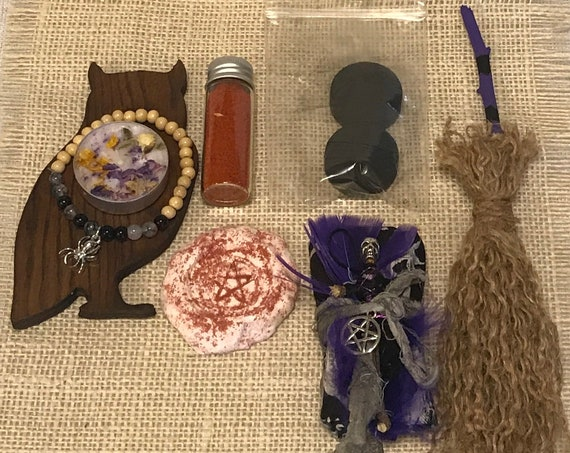 Gift Set Altar Kit Tools Handcrafted Divination Cloth Protection Doll Bracelet Pagan Wiccan Incense Spiritual Candle Beginners Witchcraft