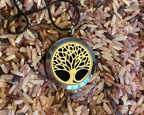 Tree of Life Aromatherapy Locket with refills , Moon Locket, Diffuser Jewelry