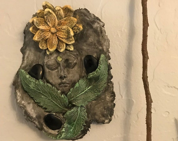 Flower Goddess w/ Obsidian and Peridot, Wall Plaque, Hanging Art
