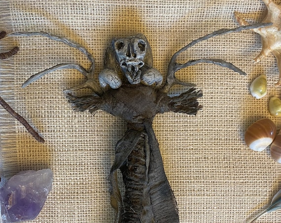 Winged Protection Doll, Hand Crafted, Altar Figurine, Art Doll, Spirit Doll, Voodoo Doll, Divination Tool, Hoodoo, Pagan, Wiccan, OOAK