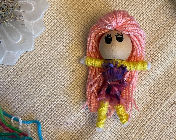 Worry Doll Hand Crafted OOAK Poppet Yarn Art Doll