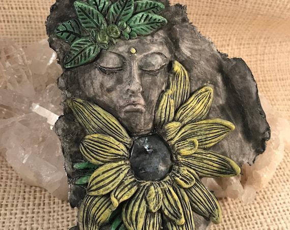 Flower Goddess w/ Black Moonstone, Black Labradorite, Larvikite Wall Plaque, Hanging Art
