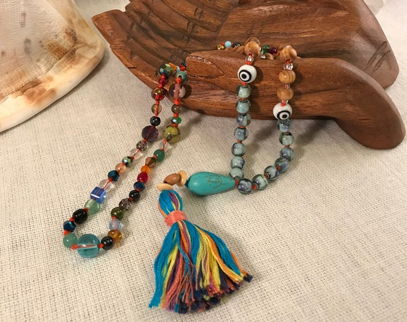 Meditation Mala, Prayer Bead Necklace W/ Multi-Colored Beads, Evil Eye, Multi-Colored Tassel