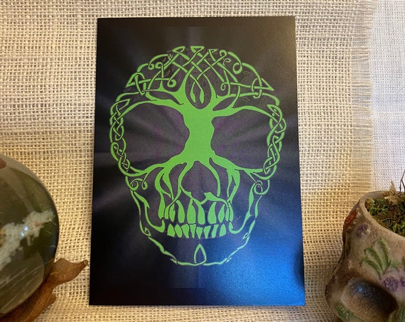 Greenman, Skull Art, Spirit of Masculine Aspects of Nature, Gift Card, Pagan, Wiccan, Spiritual, Witchcraft
