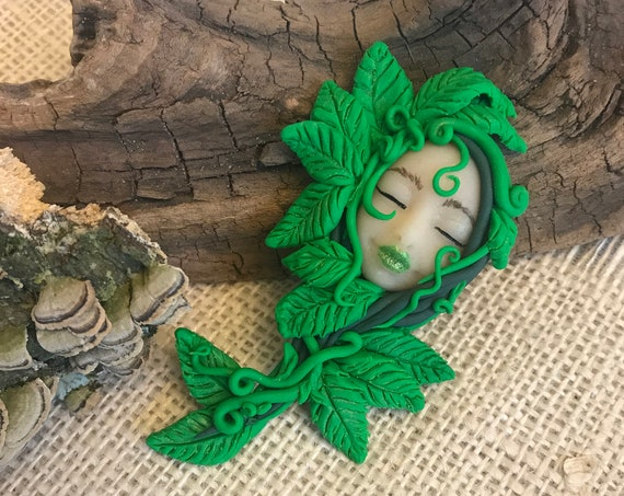 Goddess Polymer Clay Art Doll Altar Decor Scrapbook Embellishment Earth Art Doll Pagan Goddess Spirit Doll Lucky Charm