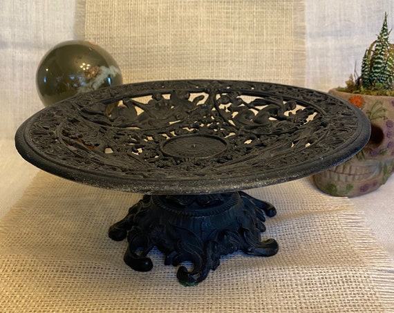 Vintage 1960's cast iron compote made by Emig. Ornate bowl, Greek Mythology, Neptune, Nymph, altar tool, Pagan