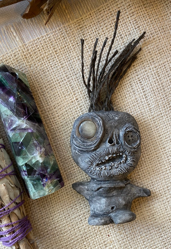 OOAK Mini Draxi Doll, Hand Crafted, Altar Figurine, Art Doll, Spirit Doll, Voodoo Doll, Pagan, Wiccan, Incense Holder
