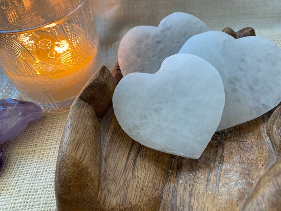 Selenite heart charging plate, Hand Crafted, Altar Tool, Spiritual tool, Voodoo, Pagan, Wiccan, Charging plate