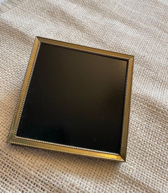 Vintage Frame Glass Scrying Mirror, Divination Mirror, Black Mirror Scrying Tool, Antique Glass Brass Frame