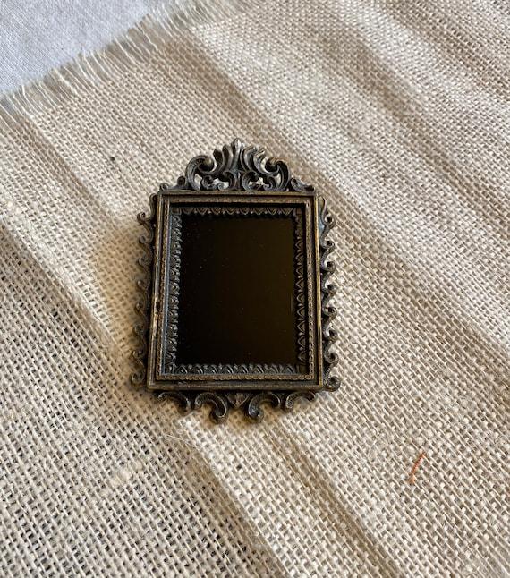 Vintage Frame Glass Scrying Mirror set, Divination Mirror, Black Mirror Scrying Tool, Antique Glass Brass Frame