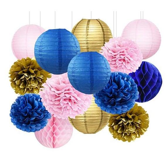 6 Pink Paper Pompom Balls Lanterns Garland Baby Girl Birthday Hanging Decor