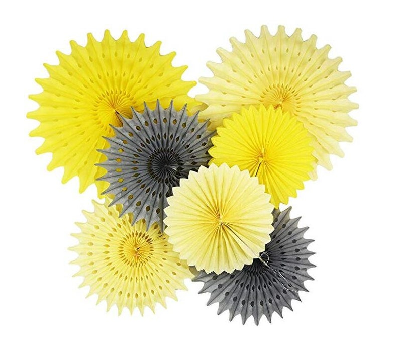 Baby Shower Decorations Cream Yellow Grey 7pcs Honeycomb Etsy