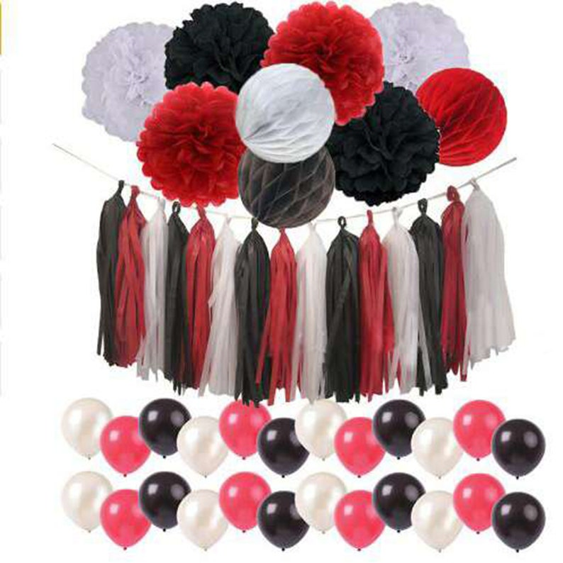 42pcs Red Black White Minnie Mouse Theme Birthday Party Decor Etsy