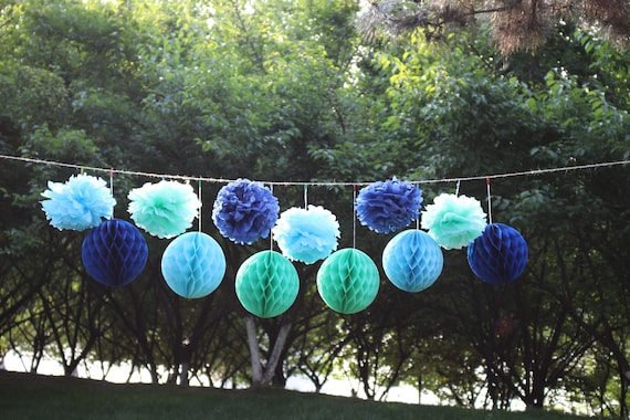 Fantastic Under The Sea Party Supplies Mermaid Decor Navy Baby Blue Mint Tissue Pom Poms Paper Lanterns First Birthday Decor Baby Shower Decorations Interior Design Ideas Clesiryabchikinfo
