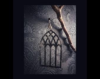 "Decor ornaments  ""GOTHIC WINDOW - BATS"" set 3 pieces gothic home decor wood church halloween christmas x-mas"