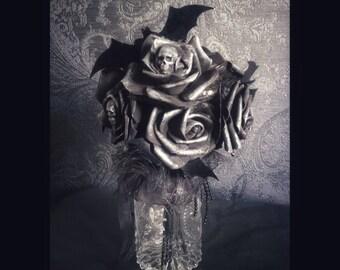 "Black Deco Rose Bouquet ""MACABRE ROSES - BATS"" in Glass Vase Halloween Gothic Home Decor"