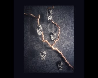 "Decor ornaments ""COFFINS"" set 5 pieces gothic home decor wood cobweb skull halloween coffin christmas x-mas"