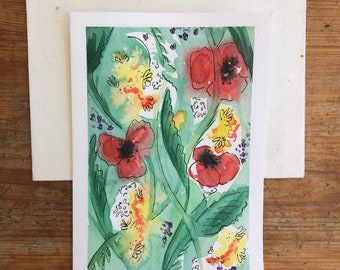 Greetings Card - Field of Poppies - Original Artwork