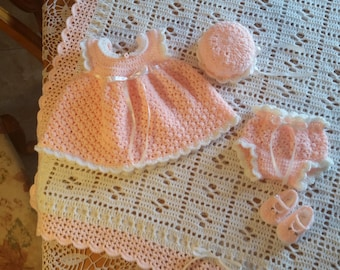Hand Made Crochet Baby Girl Blanket Gift Set Peaches and Cream 0-3 months Great Baby Shower Gift