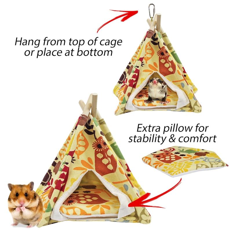 Marmosets Birds Hamsters Flying Squirrels Gerbils Teepee Tent Degus Sugar Gliders Mice Fun /& Unique Cage Accessory