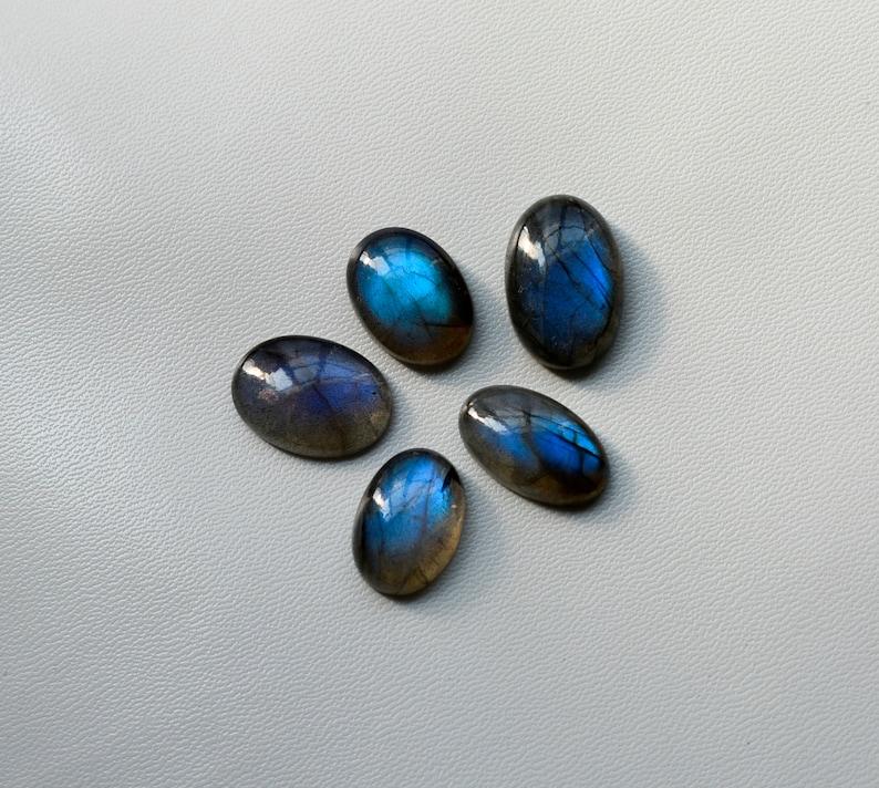 90Cts Wholesale Lot Beautiful 5Pcs Natural Blue Labradorite Cabochon Lot AAA Quality Oval Shape Full Blue Flashy Labradorite Gemstone