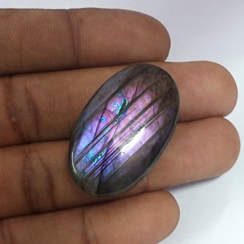 Designer Purple Flashy Labradorite Gemstone Weight 52Cts Size 35*21*7mm Oval Shape Labradorite Loose Gemstone Labradorite Cabochon