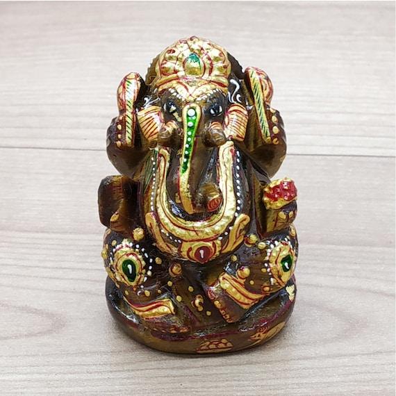 Ganesha Stone for Meditation Home Decor Ganesha Tiger Eye Ganesha Statue Ganesha Idol Natural Gemstone Tiger Eye Ganesha Figurine