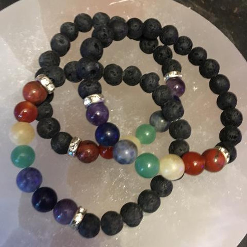 Chakra Lava and Crystal Bracelets With Drawstring Pouch and Clear Quartz Point Included FREE Domestic Shipping