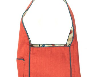 Coral and Teal Crab Purse / Crab Gift / Crustacean / Coral Bag / Over the shoulder bag / purse with pockets / J Elizabeth Creations