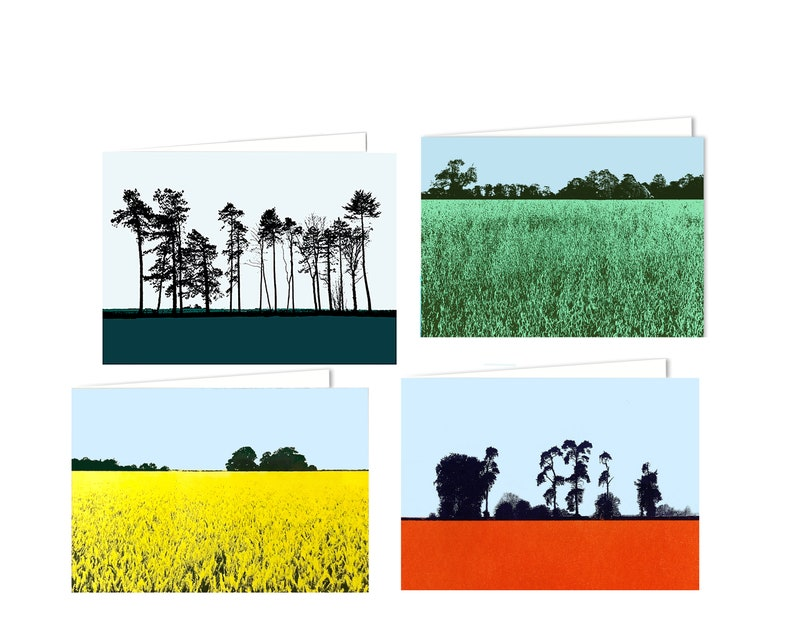 Greetings cards  countryside fields and trees image 0