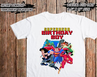 Birthday Boy Justice League Iron On Transfer Digital Printable Files Only DIY High Resolution