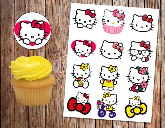 Cupcake Topper Hello Kitty Digital Printable Files Only Etsy