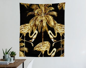Golden Tropic Gobelin, Flamingo, Tropisch, Exotisch, Palm Blätter  Wandbehänge, Wand Dekor, Wohnkultur, Wohnheim Dekoration T # 8